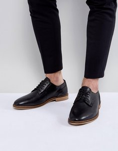 Read more about Asos lace up derby shoes in black leather with natural sole - black
