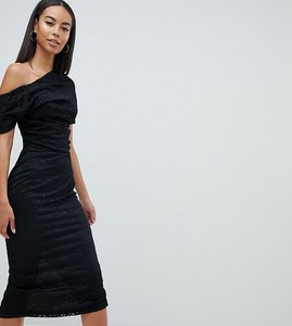 Read more about Asos design tall pleated shoulder lace midi dress - black
