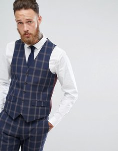 Read more about Harry brown slim fit blue check windowpane waistcoat - navy