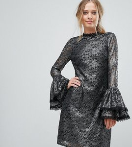 Read more about Little mistress metallic cutwork lace swing dress with fluted sleeve detail - silver