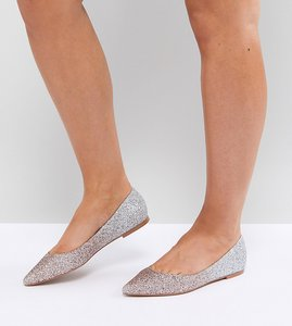 Read more about Asos latch pointed ballet flats - ombre glitter