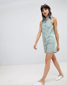 Read more about Asos design washed boiler playsuit - washed blue