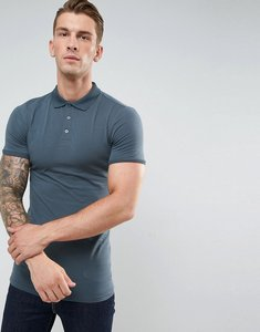 Read more about Asos longline extreme muscle fit jersey polo - dk slate