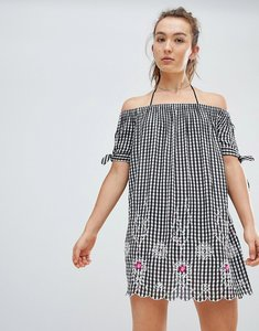 Read more about Floozie by frost french gingham off the shoulder beach dress - black