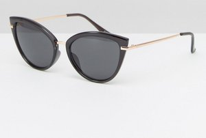 Read more about Asos metal bridge cat eye sunglasses with rose gold - black