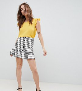 Read more about Asos design petite stripe mini skirt with pep hem and button front - cream black