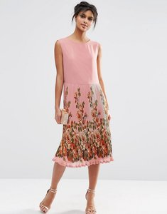 Read more about Asos midi dress with pleated skirt and border print - print