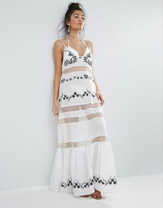 Read more about Asos beach mesh embroidered panel maxi dress with peplum hem - mono