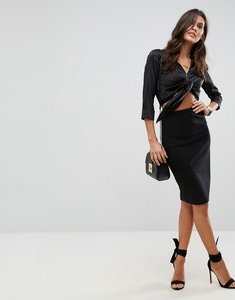 Read more about Asos design high waisted pencil skirt - black