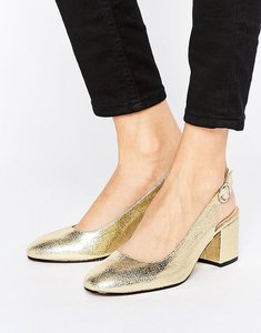 Read more about London rebel slingback heeled shoe - gold pu