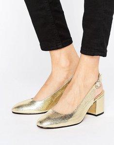 Read more about London rebel slingback heeled shoe - gold pu