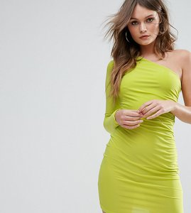 Read more about Club l one shoulder slinky mini dress - lime