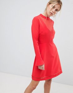 Read more about Morgan mesh insert skater dress - red