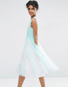 Read more about Asos mesh fit and flare midi dress - light blue