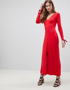 Read more about Asos design maxi tea dress with self covered buttons - red