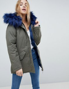 Read more about Brave soul mid reversible parka with faux fur trim hood - navy khaki