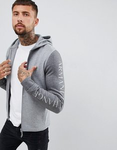 Read more about Armani exchange logo zip-thru hoodie in grey - grey