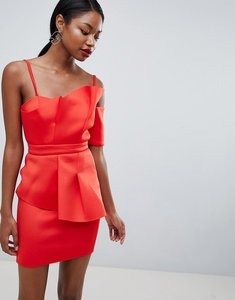 Read more about Asos premium scuba fan front cuff mini dress - red