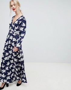 Read more about Liquorish floral print wrap maxi dress - navy