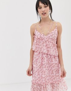 Read more about Lost ink asymmetric midi dress with ruffle layer in ditsy floral print - pink multi