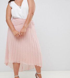 Read more about Asos design curve dobby pleated high low midi skirt with pintuck detail - nude