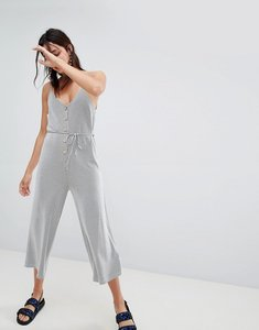 Read more about Stradivarius striped button front jumpsuit - navy