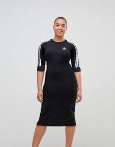 Read more about Adidas originals black three stripe midi dress - black