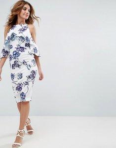 Read more about Asos textured cold shoulder midi porcelain print dress - multi