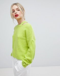 Read more about Asos jumper with volume sleeve and cut out neck - yellow