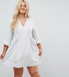 Read more about Asos curve v neck smock dress with frill cuff - grey
