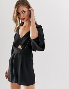 Read more about Asos playsuit with kimono sleeve and cut out - black