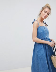 Read more about Asos design denim button through midi dress in midwash blue - blue