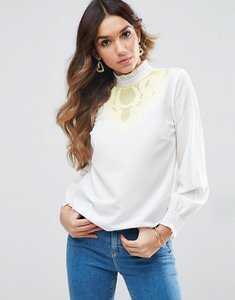 Read more about Asos blouse with contrast embroidery - ivory yellow