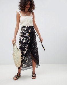 Read more about Asos design mixed ditsy floral wrap midi skirt with lace trim - multi