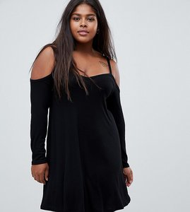 Read more about Asos design curve cold shoulder mini swing dress - black