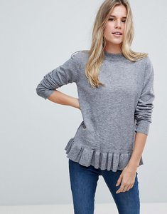 Read more about B young ruffle hem jumper - grey