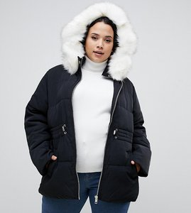 Read more about Asos design curve puffer jacket with waist detail and faux fur hood - black