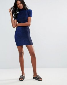 Read more about First i bodycon metallic skirt - blue depths