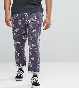 Read more about Asos plus slim cropped trousers in vintage washed out leaf print - navy