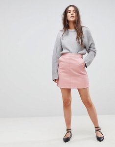 Read more about Only a-line leather look skirt - blush