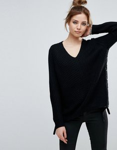 Read more about John jenn cherie lace up side scoop neck jumper - caviar