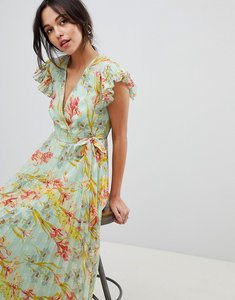 Read more about Asos design vintage floral pleated maxi dress with flutter sleeve - multi