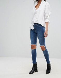 Read more about Dr denim mid rise superskinny jeans with knee cut out - mid blue damaged
