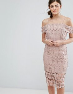 Read more about New look cutwork lace cold shoulder dress - nude