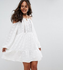 Read more about Glamorous tall all over lace cold shoulder skater dress - white