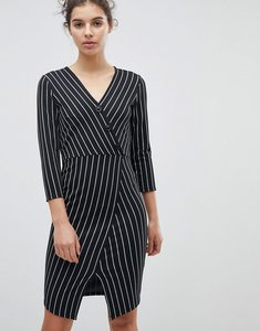 Read more about Miss selfridge wrap front asymmetric hem bodycon dress - mono
