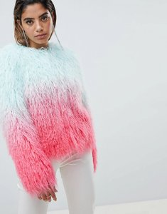 Read more about Asos design mongolian ombre faux fur festival jacket - multi
