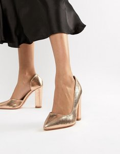 Read more about Glamorous rose gold block heeled shoes - rose gold