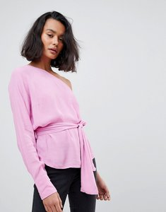 Read more about Vero moda one shoulder top with tie waist - opera mauve