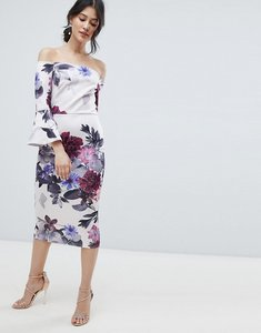 Read more about True violet bardot midi dress with frill sleeve in foral print - grey purple floral